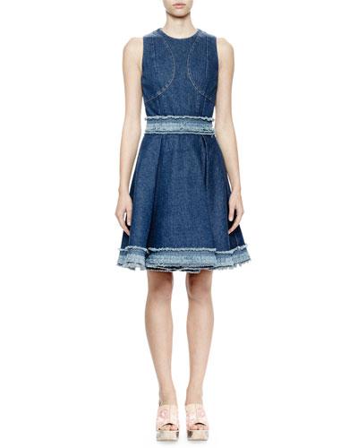 Sleeveless Denim Dress W/Raw-Edge Trim, Dark Vintage Wash