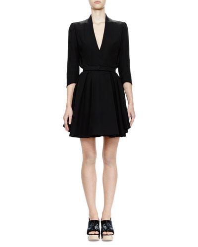 3/4-Sleeve Belted Coat Dress, Black