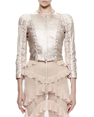 3/4-Sleeve Metallic-Leather Jacket, Rose/Silver