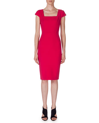 Jeddler Cap-Sleeve Sheath Dress, Berry Pink