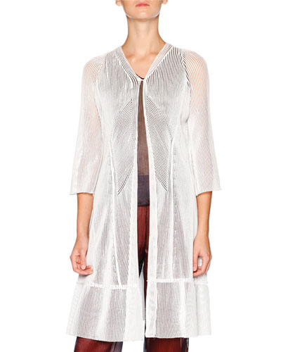 3/4-Sleeve Cellophane-Effect Cardigan, White