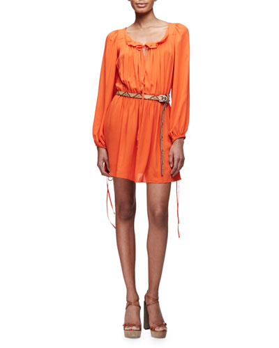 Poet Long-Sleeve Mini Dress, Sienna