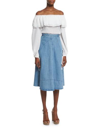 Seamed Denim Flare Skirt, Sky Blue