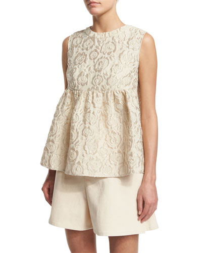 Sleeveless Matelasse Empire Top, Ivory