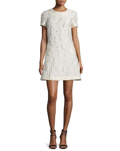 Short-Sleeve Matelasse A-Line Dress, Ivory