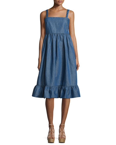 Empire-Waist Denim Tank Dress, Pale Blue