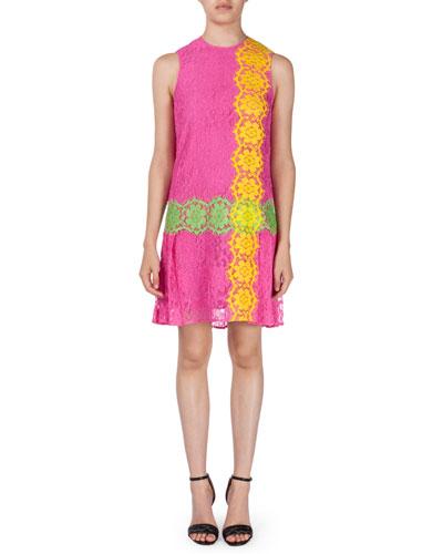 Sleeveless Flirty Lace Dress, Pink