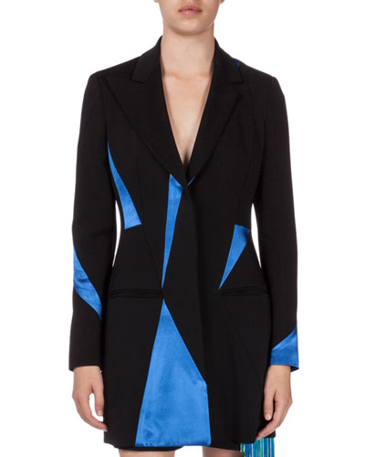 Contrast-Inset Tailored Jacket, Black/Electric Blue