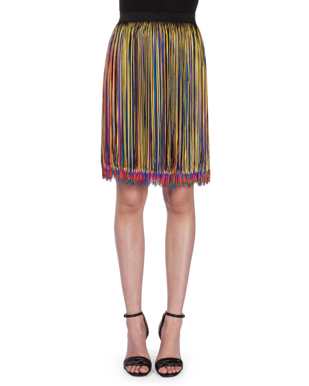 High-Waist Multi-Fringe Skirt, Black/Multi