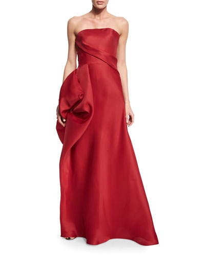 Strapless Hand-Draped Gown, Scarlet