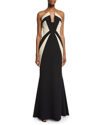Strapless Two-Tone Mermaid Gown, Black/Ecru