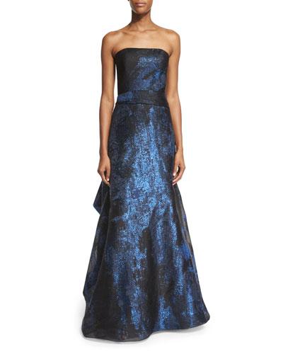 Baldachin Strapless Mermaid Gown, Metallic Navy