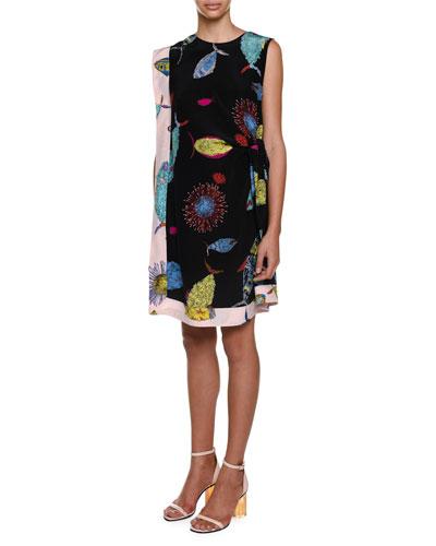 Sleeveless Printed Shift Dress, Multi Colors
