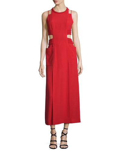 Sable Maxi Dress w/Cutouts, Caipiroska Red