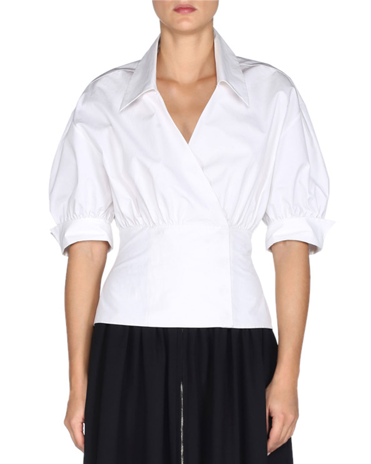 Puffed-Sleeve Faux-Wrap Blouse, White