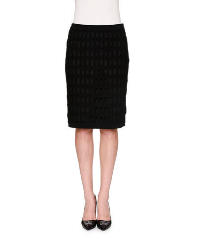 Fence-Mesh Overlay Pencil Skirt, Black