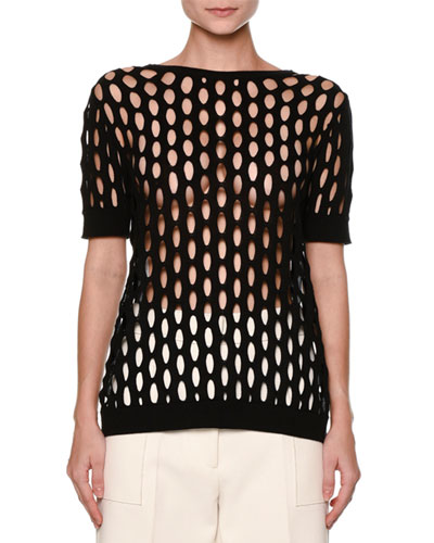 Butterfly-Back Short-Sleeve Fishnet Sweater, Black
