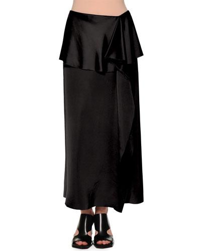 Fold-Waist Side-Ruffle Maxi Skirt, Black