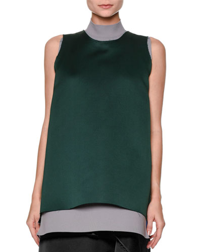 Sleeveless Split-Back Satin Tunic, Green