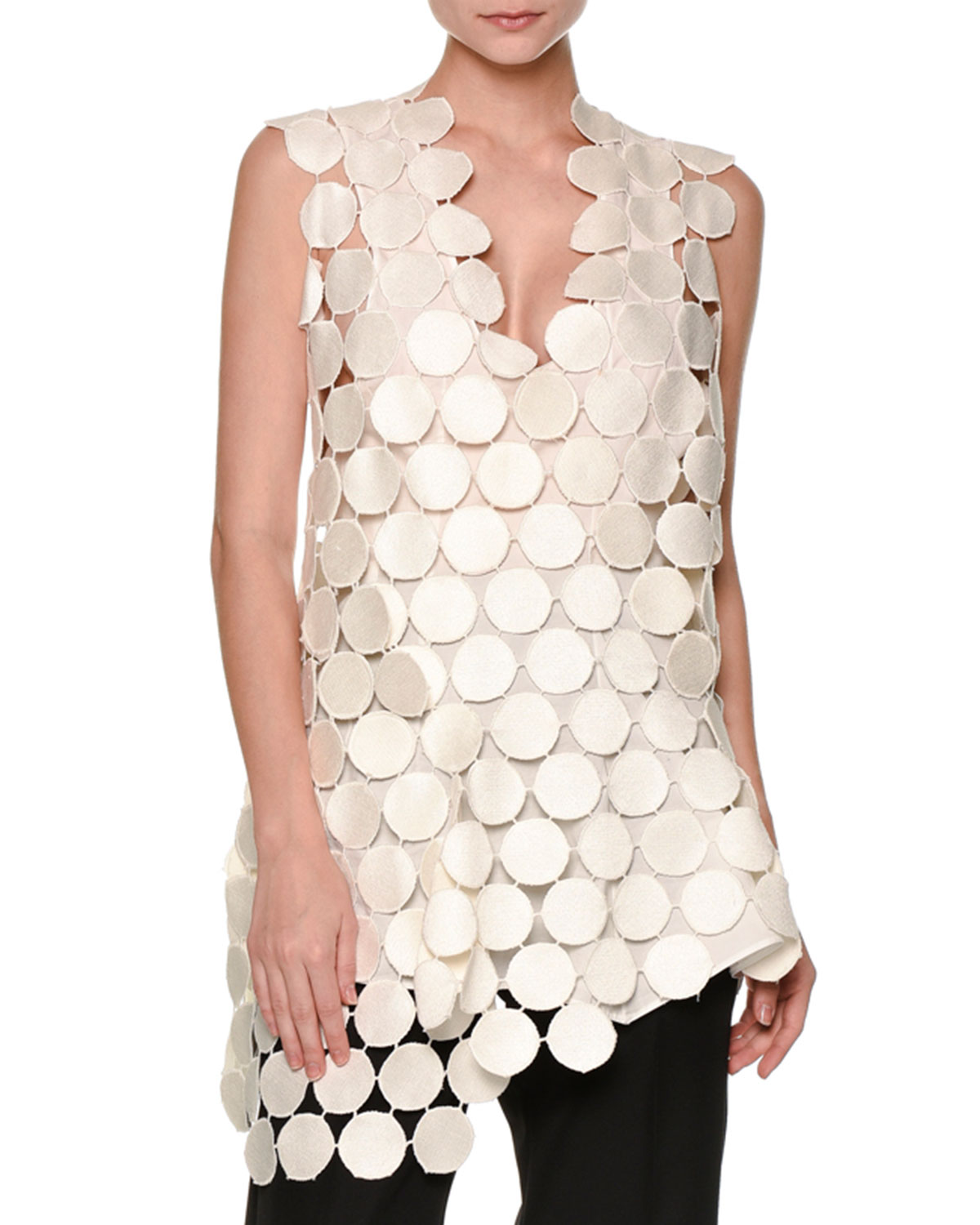 Sleeveless Macrame Dot Blouse, White