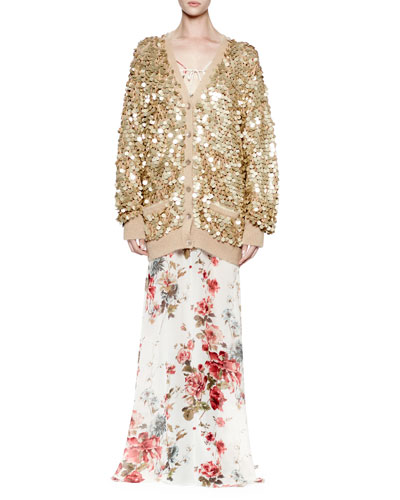 Embellished Button-Front Cardigan, Gold
