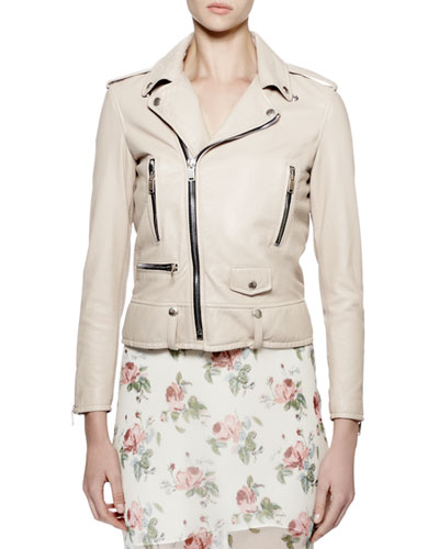 Classic Moto Leather Jacket, Rose Poudre