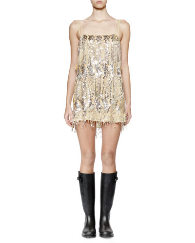 Sleeveless Embellished Mini Dress, Gold/Silver