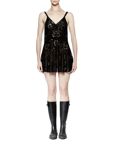 Sleeveless Lace Mini Dress, Black