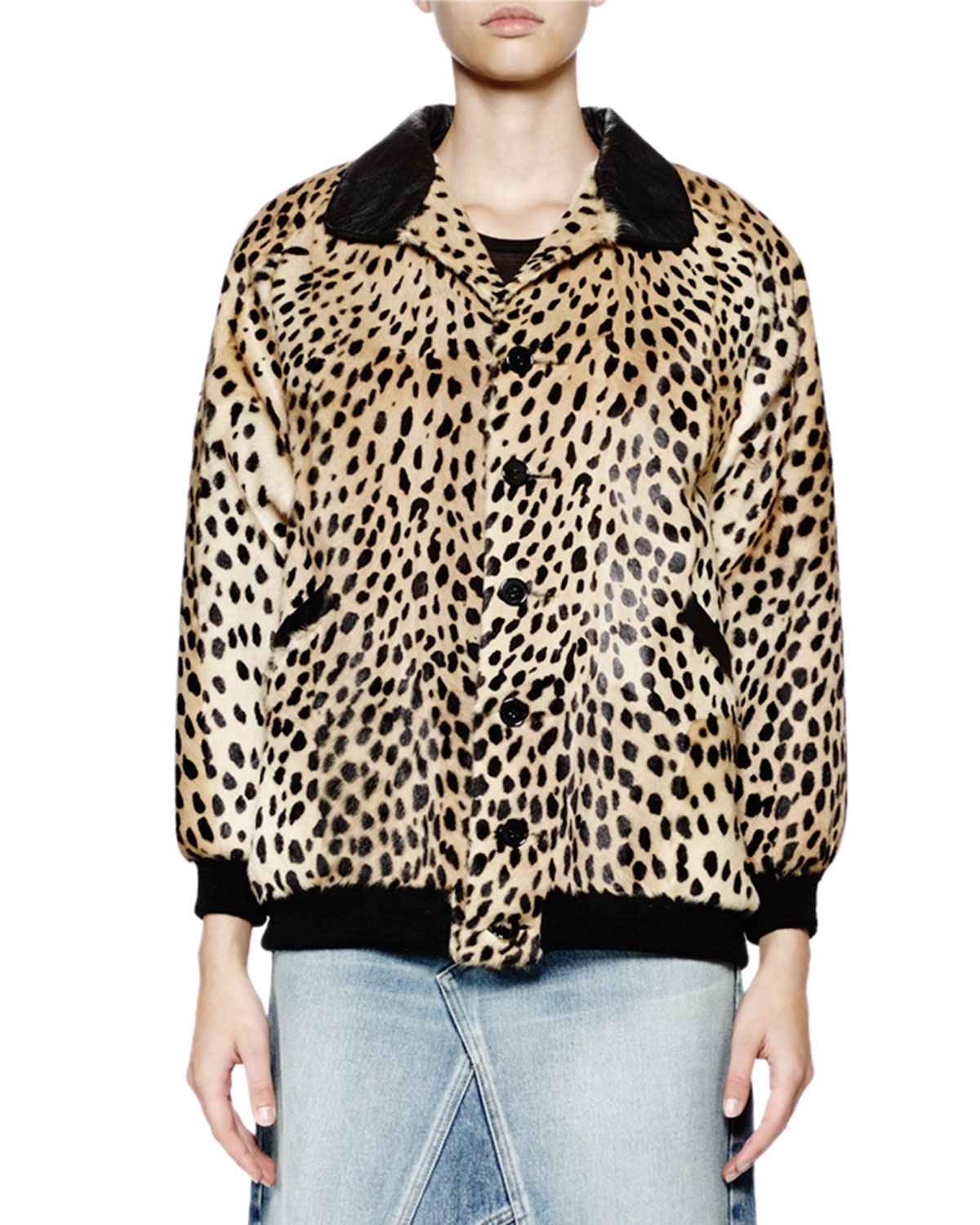 Teddy Button-Front Leopard-Print Fur Jacket, Leopard