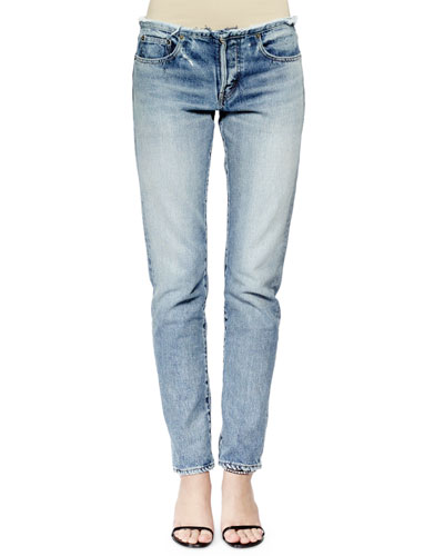 Slim-Leg Boyfriend Jeans, Denim Blue