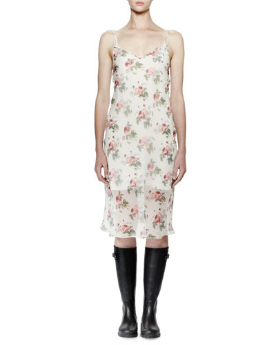 Sleeveless Floral-Print Midi Slip Dress, Rose