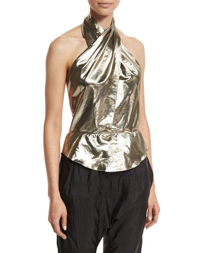 Twisted Metallic Halter Blouse, Dore