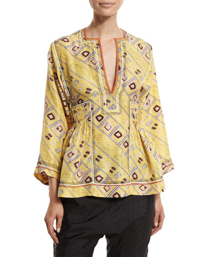 3/4-Sleeve Embroidered Tunic Blouse, Light Yellow