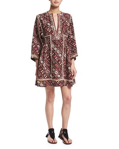 Side-Gather Embroidered Silk Dress, Burgundy
