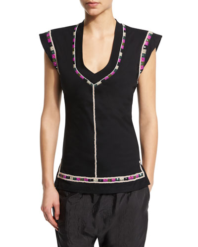 Cap-Sleeve U-Neck Embroidered Top, Black