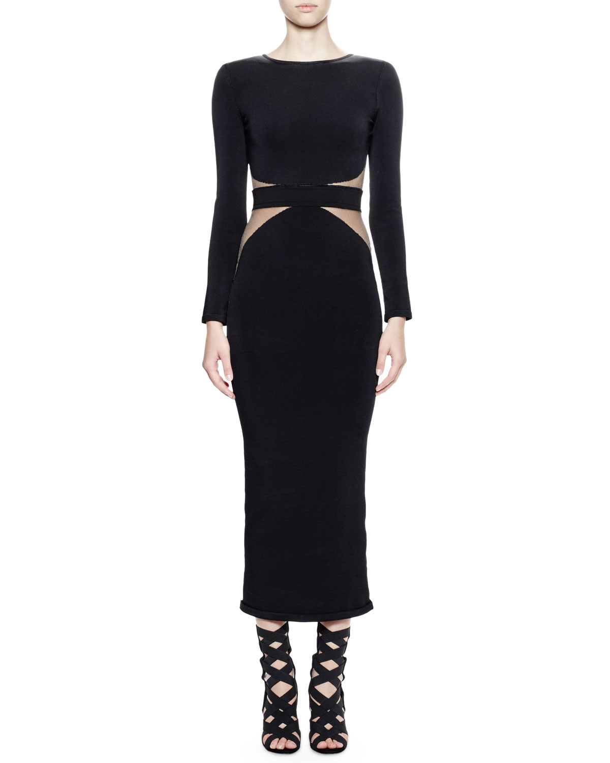 Long-Sleeve Mesh-Inset Midi Dress, Black