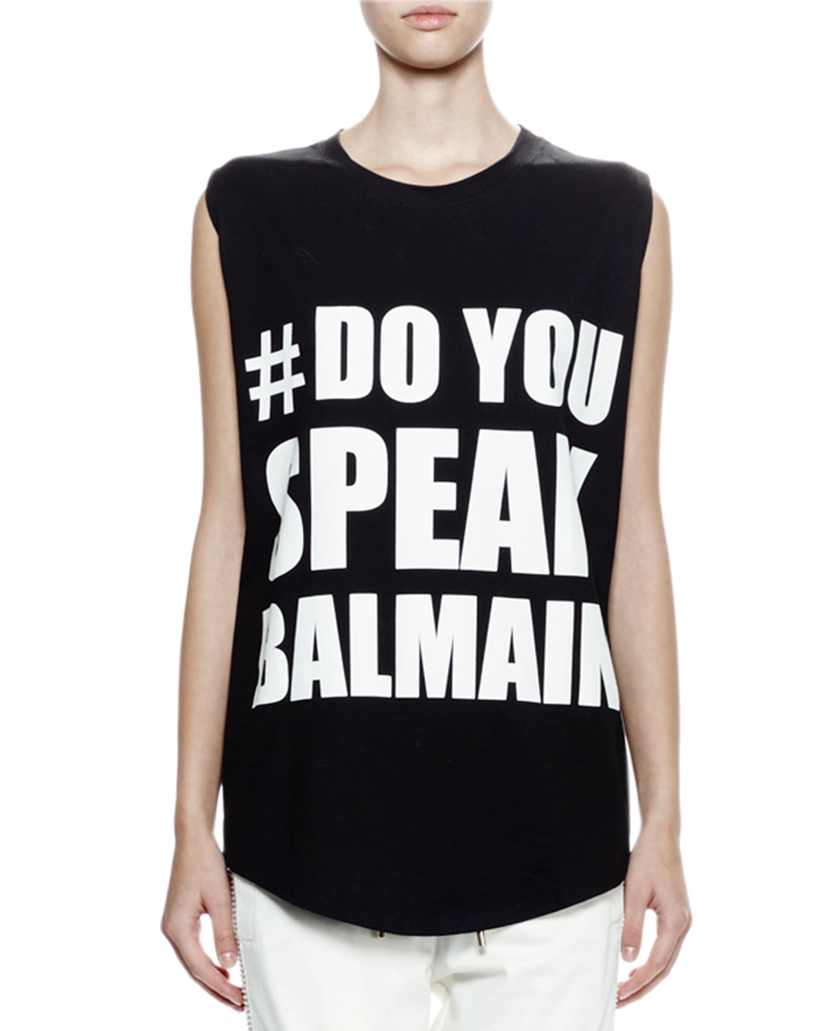 Sleeveless Screen-Print Tee, Black/White
