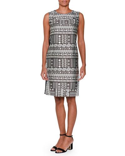 Sleeveless Geometric-Front Shift Dress, Black/White