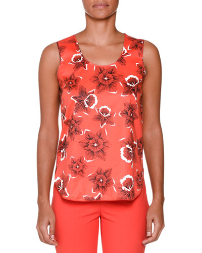 Sleeveless Floral-Print Blouse, Red