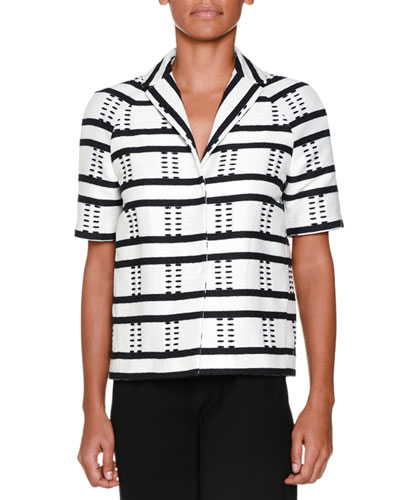 Short-Sleeve Striped Jacket, Black/White