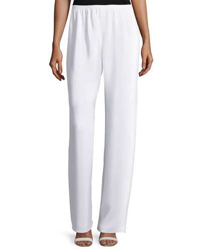Spiral Wide-Leg Pants, White