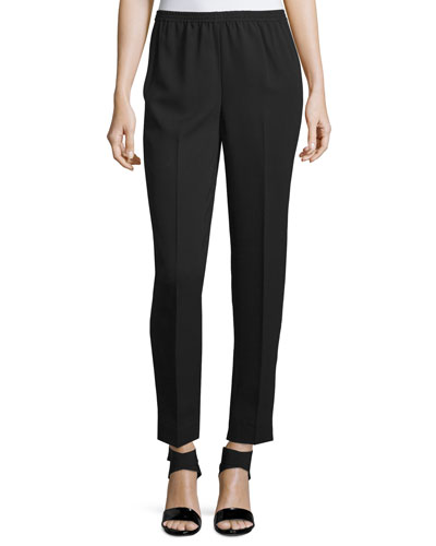 Narrow-Leg Ankle Pants, Black