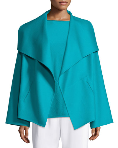 Shawl-Collar Open-Front Jacket, Teal
