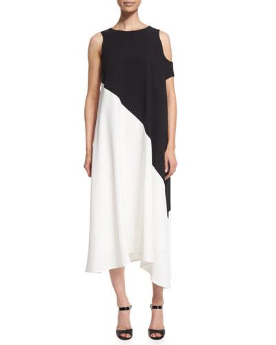 Three-Arm-Bandit A-Line Midi Dress, Black/White
