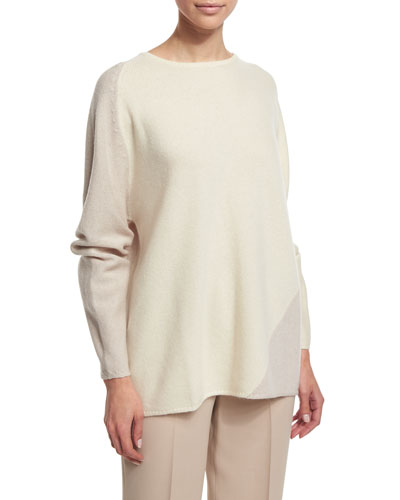 Spiral Colorblock Cashmere Sweater, Ivory/Tan