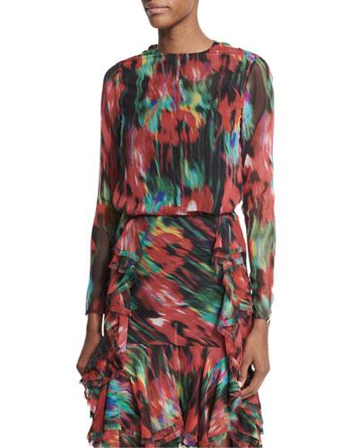 Long-Sleeve Floral-Print Top, Black/Multi