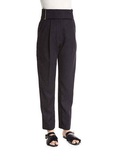 High-Waist Pleated-Front Pants, Black