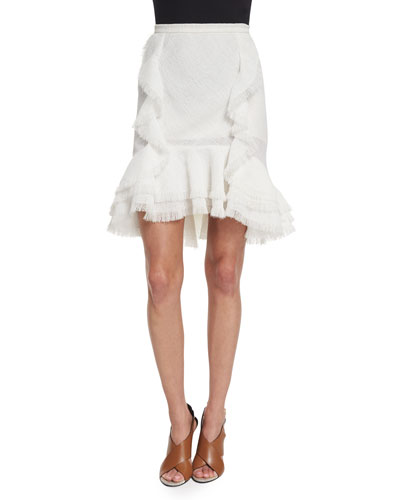 Ruffled Fit-&-Flare Skirt, Chalk
