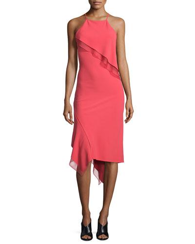 Sleeveless Bias-Ruffle Slip Dress, Berry