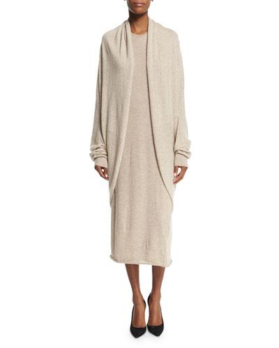 Caro Draped-Front Long-Sleeve Sweater, Alabaster Melange